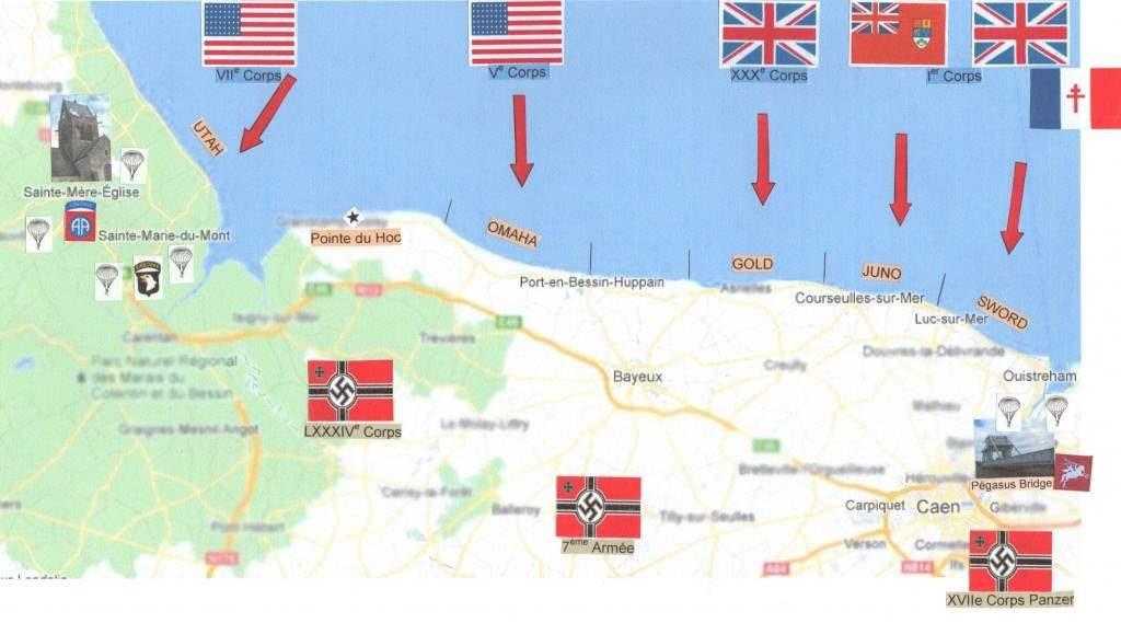 carte des plages du débarquement en Normandie