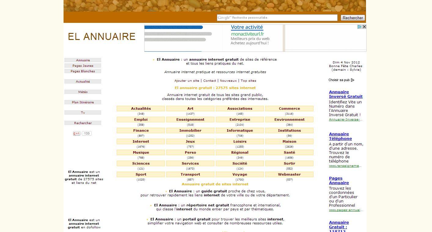 page d'accueil du site El annuaire